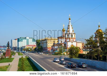 The city of Irkutsk, Russia. September 20, 2016: View of the Cathedral of the Epiphany and the monument to the founders of Irkutsk