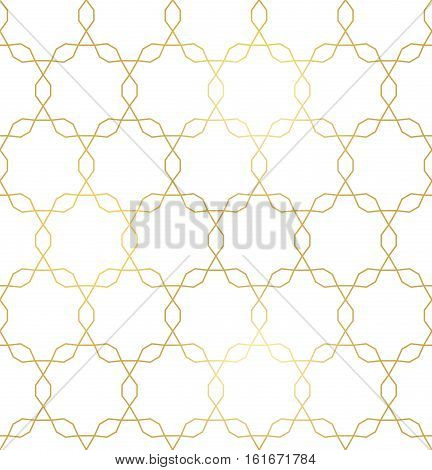 Vector golden texture, trendy gold lines seamless pattern, repeating geometric tiles, simple ornamental background with polygons. Design for tileable print, textile, decoration, digital, cover, web