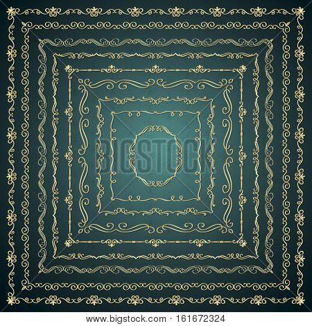 Set of Hand Drawn Golden Glossy Royal Outlined Square Frames Borders. Vintage Decorative Design Elements. Vector Illustration.