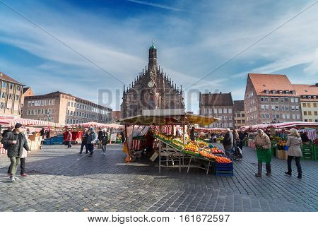 GERMANY, NUREMBERG - NOVEMBER 6, 2016. Old town with Nuremberg cathedral church onNovember 6 2016, Germany
