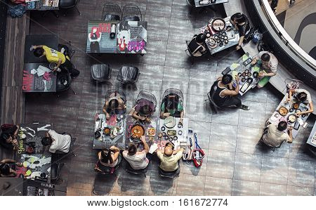 Singapore - 01 November 2014: Modern restaurant cafe view from above