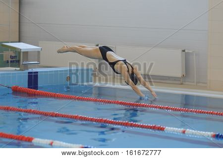 Portrait Of A Female Swimmer, That Jumping And Diving Into Indoor Sport Swimming Pool. Sporty Woman