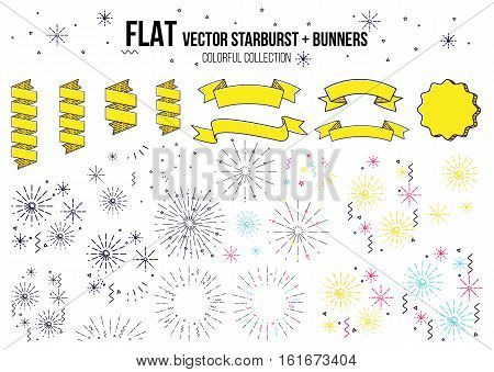 Colorful fireworks set isolated on white background, vector illustration ribbon and firework
