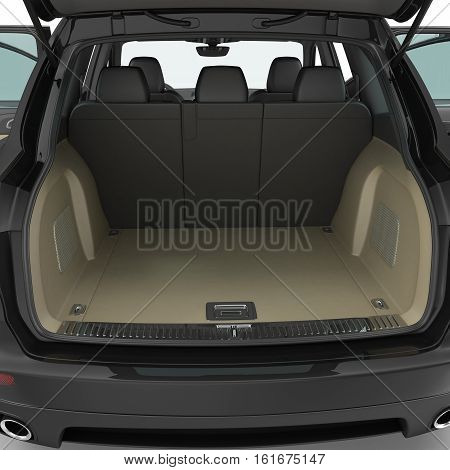SUV clean empty trunk isolated on a white background. 3D illustration