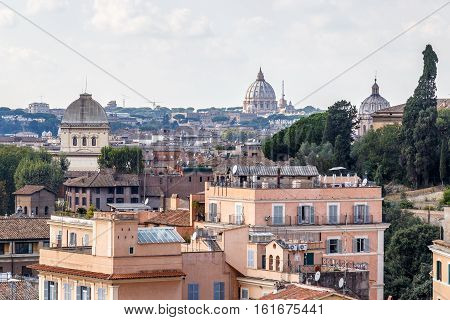 View from the Palatine hill at Rome and the dome of St. Peter