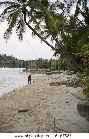Singapore - 01 November 2014: Sunny day on a beautiful beach on Sentosa Island