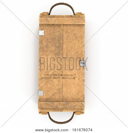 Old wooden ammo case on white background. Top view. 3D illustration