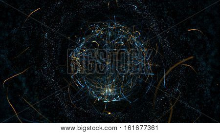 Abstract particle background with sphere shapes that have been heavily deformed by noise displacement force. Energy ball on black background. Real backlit dust particles with real lens flare.