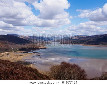 View of the Mawddach Estuary from the Panorama Walk Barmouth Gwynedd Wales captured in late April 2013.