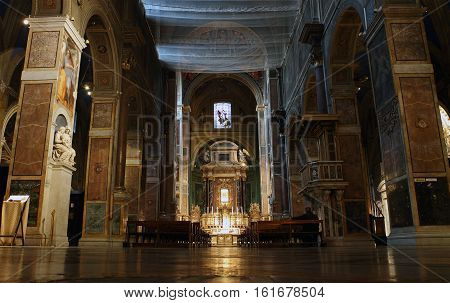ROME ITALY - DECEMBER 13 2016: people inside the Sant'Agostino in Campo Marzio minor basilica