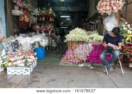 BANGKOKTHAILAND: December 042016 :Bangkok Flower Market (Pak Khlong Talat) is the primary flower market and the biggest wholesale and retail flower market in Bangkok Thailand
