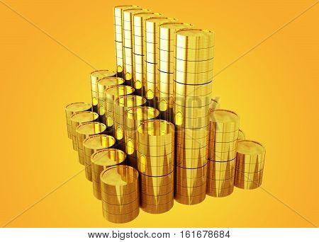 golden coins chart - 3d rendering rich, progress, golden colors