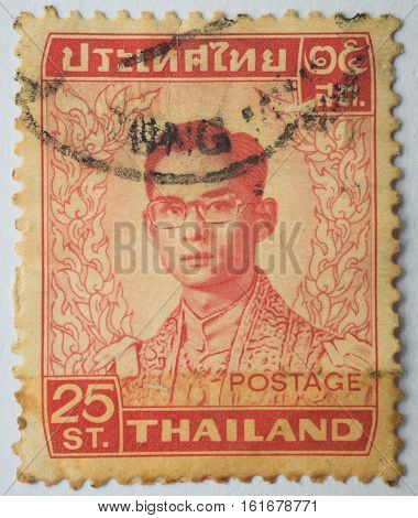 THAILAND - CIRCA 1972: A stamp printed in Thailand shows King Bhumibol Adulyadej circa 1972 25 satang