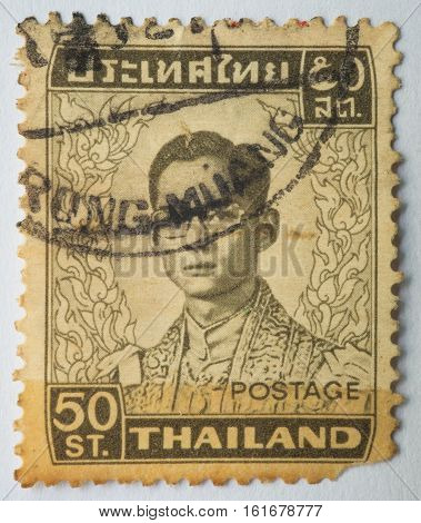 THAILAND - CIRCA 1972: A stamp printed in Thailand shows King Bhumibol Adulyadej circa 1972 50 satang