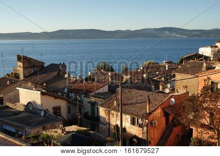 Overview of Anguillara ancient town over Bracciano lake Italy