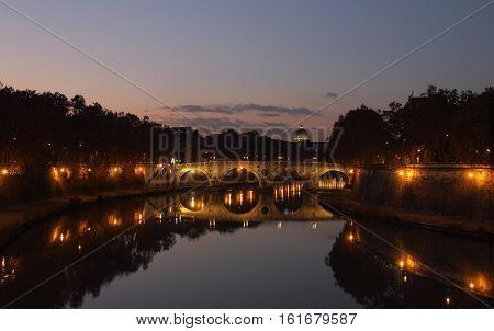Ponte Sisto the ancient Roman Bridge at night Rome Italy