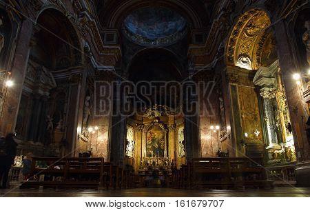 ROME ITALY - DECEMBER 13 2016: people inside the Church of Santa Maria maddalena in Campo Marzio