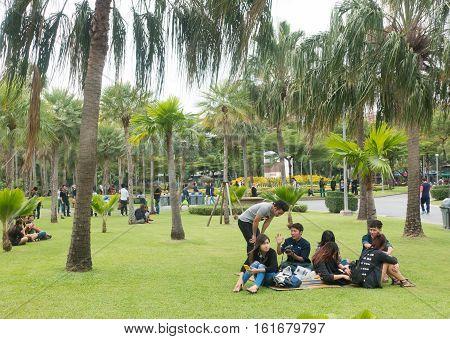 BANGKOK THAILAND - 2016 DECEMBER 04: Unidentified people relaxing at Chatuchak park the public park near weekend market in Bangkok Thailand