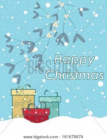 an illustration of a seasonal christmas greeting with mistletoe snow and wrapped gifts on a cold blue background