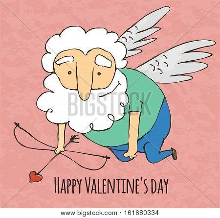 Cupid funny cartoon character Valentine's day. Hand drawn illustration.