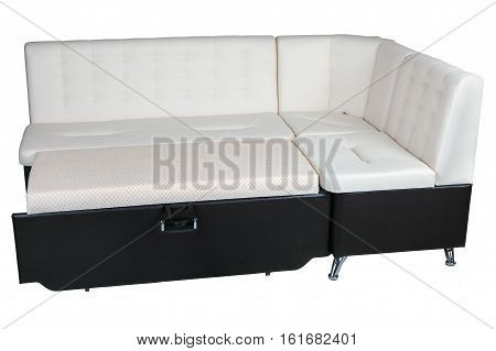 Modern corner convertible sofa bed leather sleeper brown and white color isolated on white background include clipping path.