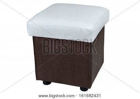 white and brown color leatherette ottoman isolated on white background include clipping path