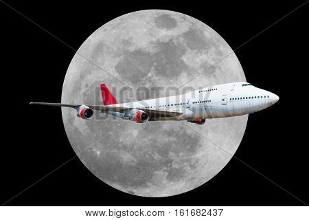 Passenger Airplane With Moon Isolated On Black Background