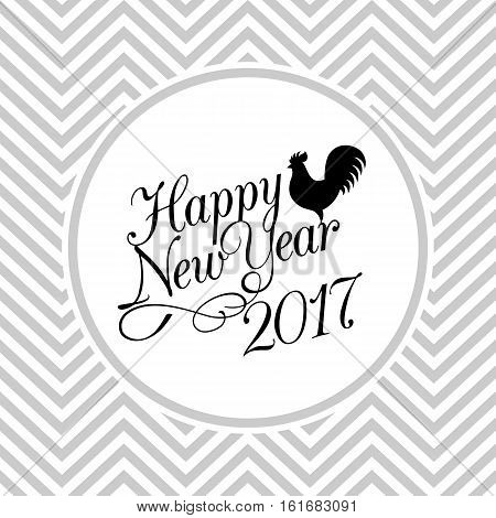 Happy new year 2017 typographic design poster, flat design