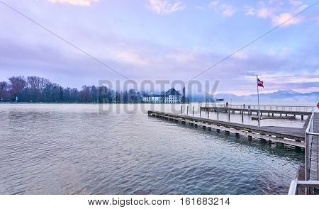 Lake Attersee With Schloss Kammer And Jetty