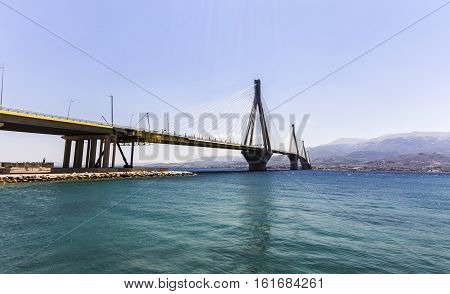 suspension bridge crossing Corinth Gulf strait Greece.