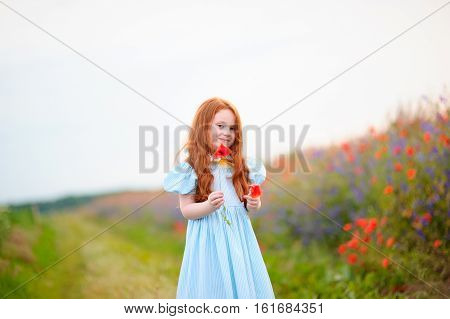 a cute girl in poppy field of flowers in the open air. The girl in the poppies. Happy kid with poppies.