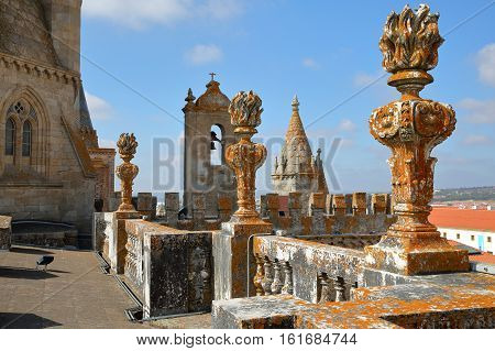 EVORA, PORTUGAL - OCTOBER 9, 2016: The roof of the cathedral (Se)