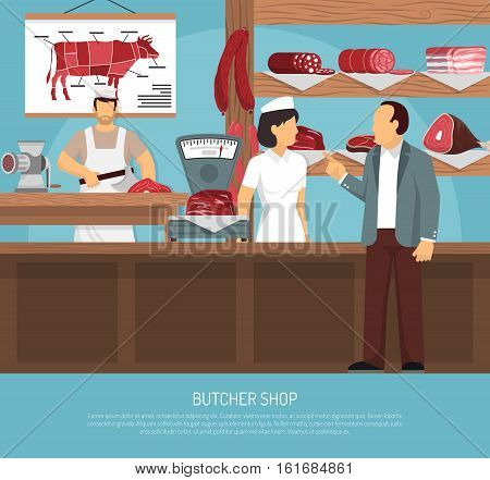Butcher shop with retro scales meat charts sausages and customer buying beef loin cut flat vector illustration