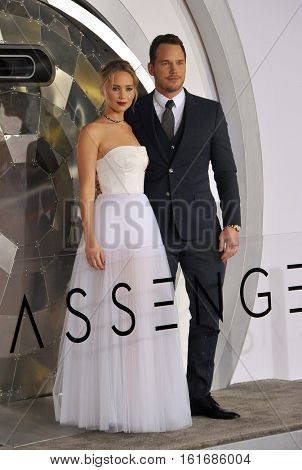 Jennifer Lawrence and Chris Pratt at the Los Angeles premiere of 'Passengers' held at the Regency Village Theatre in Westwood, USA on December 14, 2016.
