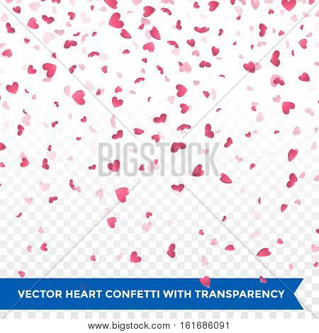 Pink hearts falling. Valentine Day. Background design element for greeting card. Flower petals in shape of heart