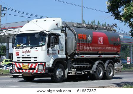 CHIANG MAI THAILAND - OCTOBER 31 2016: Oil Truck of Muengluang Oil transport Company. On road no.1001 8 km from Chiangmai city.