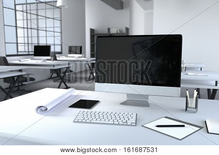 3D Rendering : illustration of modern interior Creative designer office desktop with PC computer.computer labs.working place of graphic design.close-up.Mock up.shiny floor.light from outside
