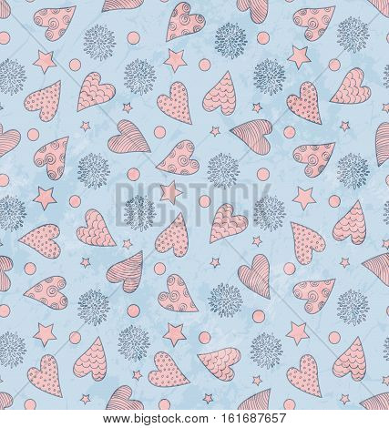 Abstract Seamless Grunge Valentine's Cute Pattern With Hearts Flowers And Stars