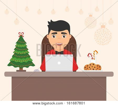 Cute character men, holiday tree. Celebration flat vector illustration. Decorated workplace office Merry Christmas and Happy New Year.