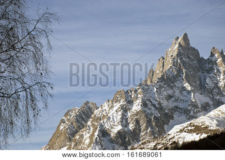 Aiguille Noire, the beautiful rock face at the side of the Mont Blanc