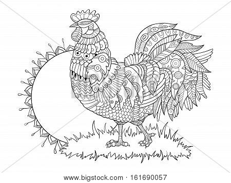 Rooster coloring book for adults vector illustration. Anti-stress coloring for adult. Tattoo stencil. Zentangle style. Black and white lines. Lace pattern