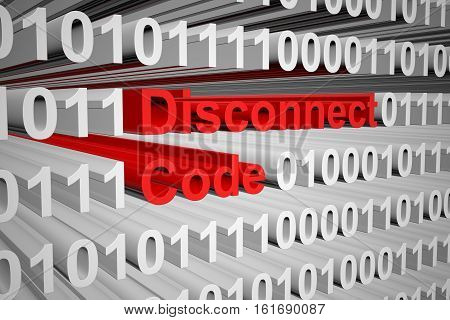Disconnect code in the form of binary code, 3D illustration
