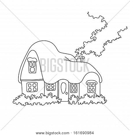 Vector illustration of winter home with snow. Coloring book page snowbound house