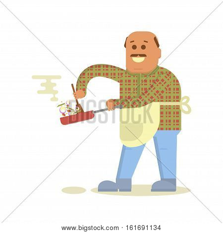 Fat bald man with frying pan in hand cooking . Isolated on white background. Vector flat design illustration.