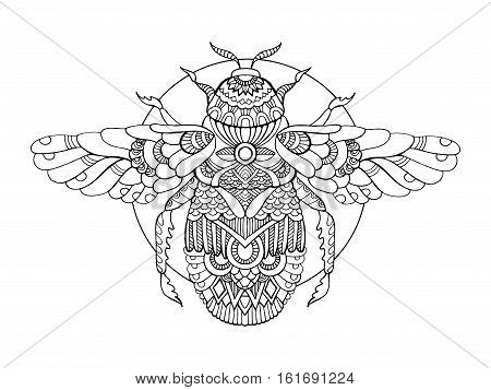 Bumblebee coloring book for adults vector illustration. Anti-stress coloring for adult. Tattoo stencil. Zentangle style. Black and white lines. Lace pattern