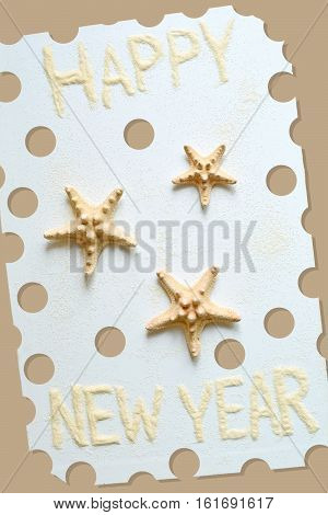 Illustration with photo of three sea stars for an original new year postcard in beige colors. Raster.