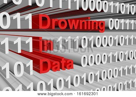 drowning in data in the form of binary code, 3D illustration