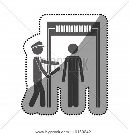 Passenger and security checkpoint icon. Airport travel trip and tourism theme. Isolated design. Vector illustration