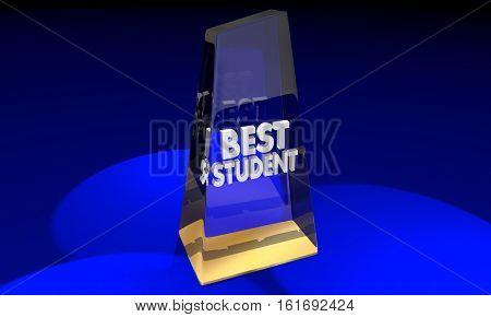 Best School Award Trophy Top Education Prize 3d Illustration