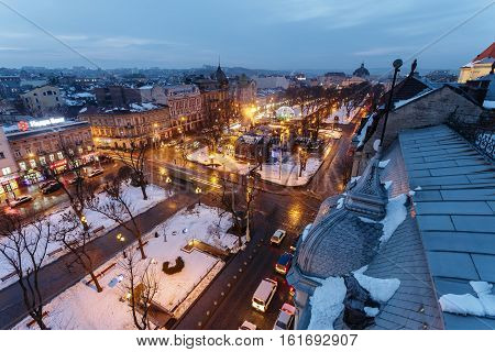 Lviv, Ukraine - February, 2014 - top view Liberty Square on the avenue in the winter evening in Lviv, Ukraine.
